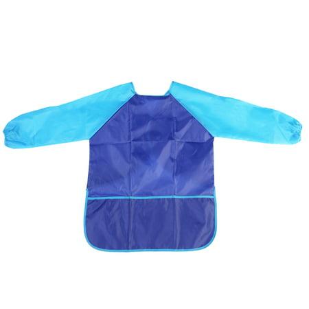 Paint Smock Apron (Children Kids Waterproof Long-sleeved Art Smock Painting Apron (Blue))