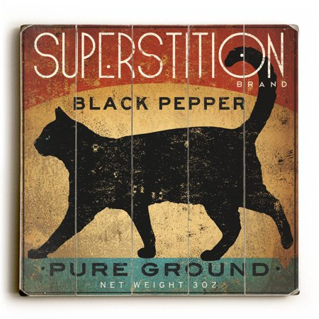 One Bella Casa Superstition Black Pepper Cat - Wood Wall Decor by Ryan Fowler ()