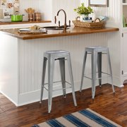 "Best Choice Products 30"" Set of 2 Modern Industrial Backless Metal Bar Stools Silver by Best Choice Products"