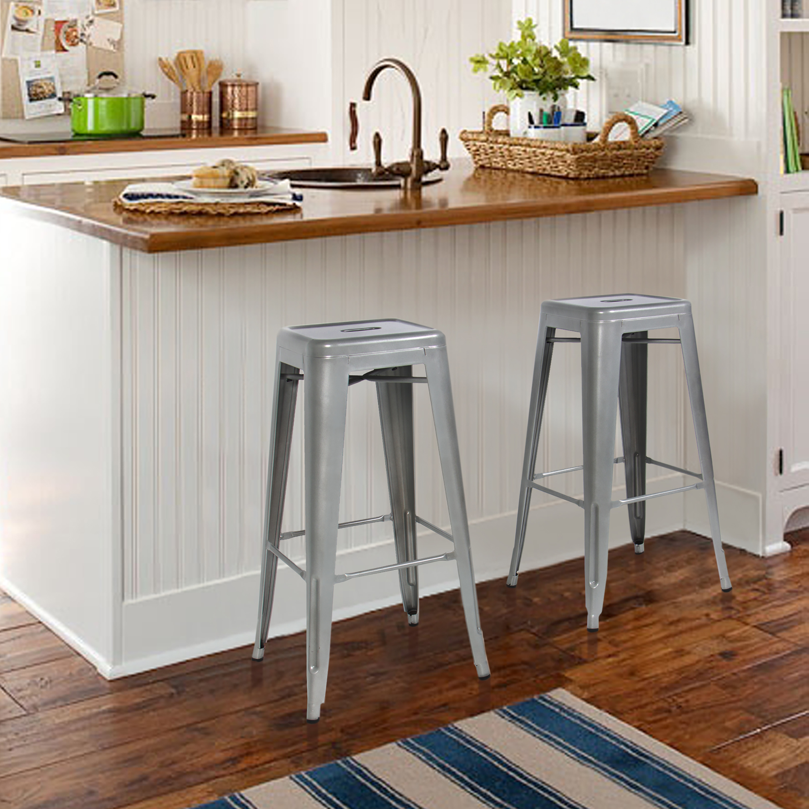 "Best Choice Products 30"" Set of 2 Modern Industrial Backless Metal Bar Stools - Silver"