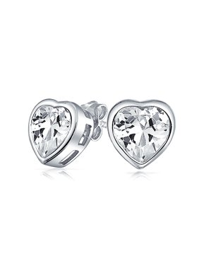 c4d19eb03 Product Image 1CT Cubic Zirconia Bezel Set Heart Shaped CZ Solitaire Stud  Earrings For Women Rose Gold Plated