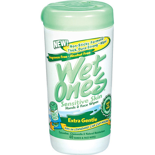 Wet Ones Sensitive Skin Extra Gentle Hand & Face Wipes, 40 sheets