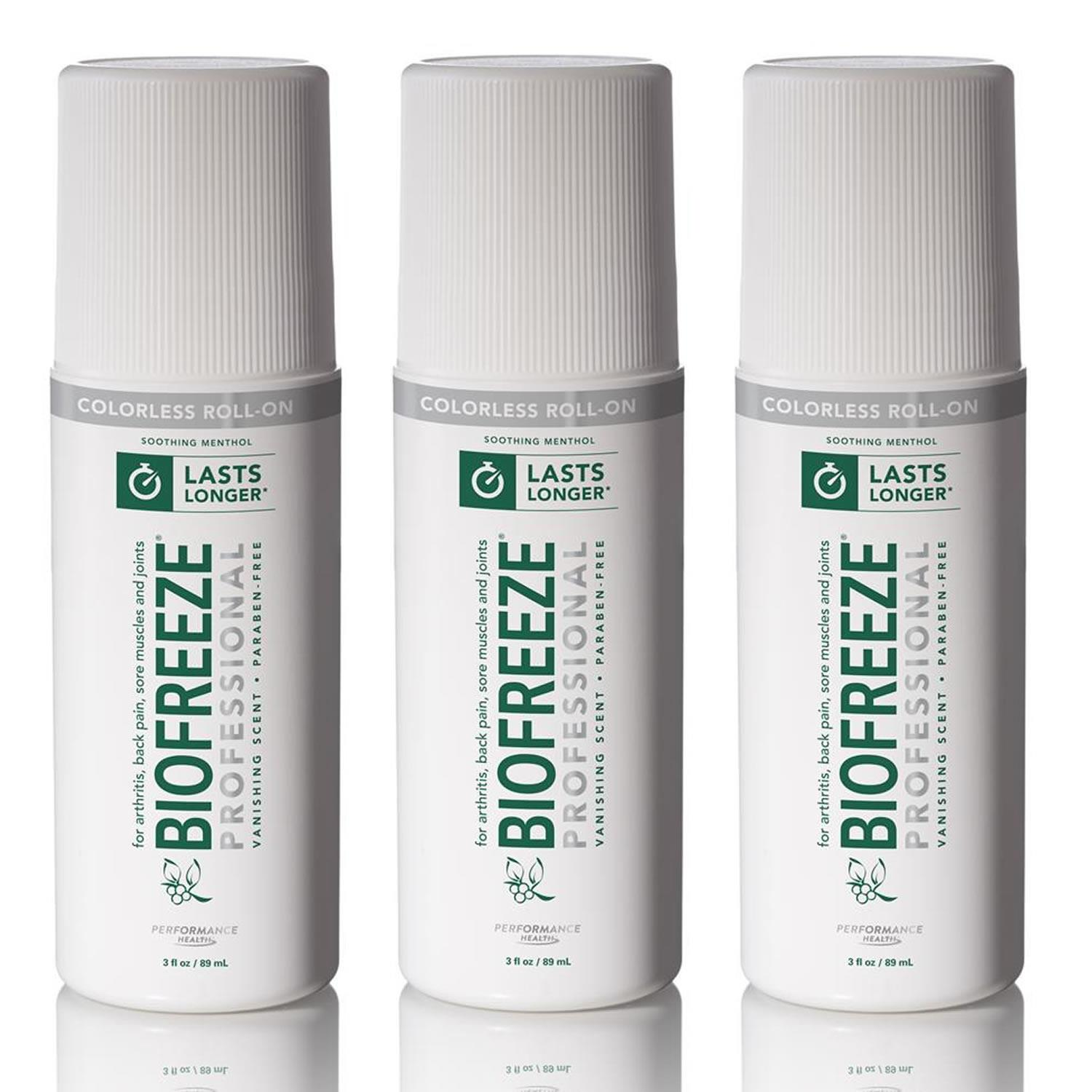 Biofreeze Biofreeze Professional Colorless 3oz Roll-On 3PK Pain Relief Arthritis Fast-Acting