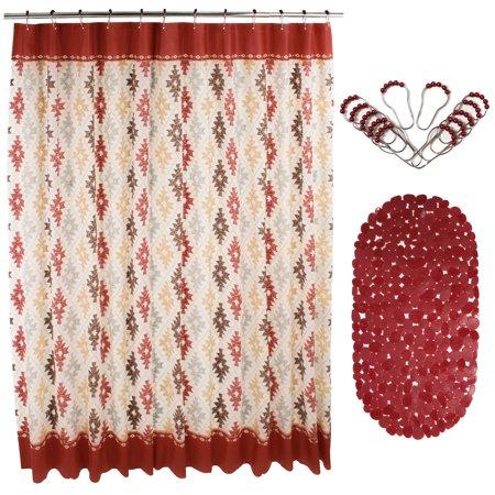 14 Pcs PEVA Shower Curtain Set 72 W Anti Slipping Rubber Mat 12 Stainless Steel Beaded Hooks Burgundy