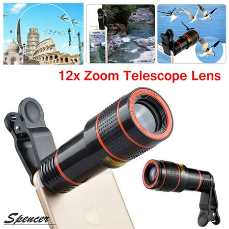 HD 12X Optical Zoom Telescope Camera Lens Clip On Binocular Photography For iPhone Samsung Cell