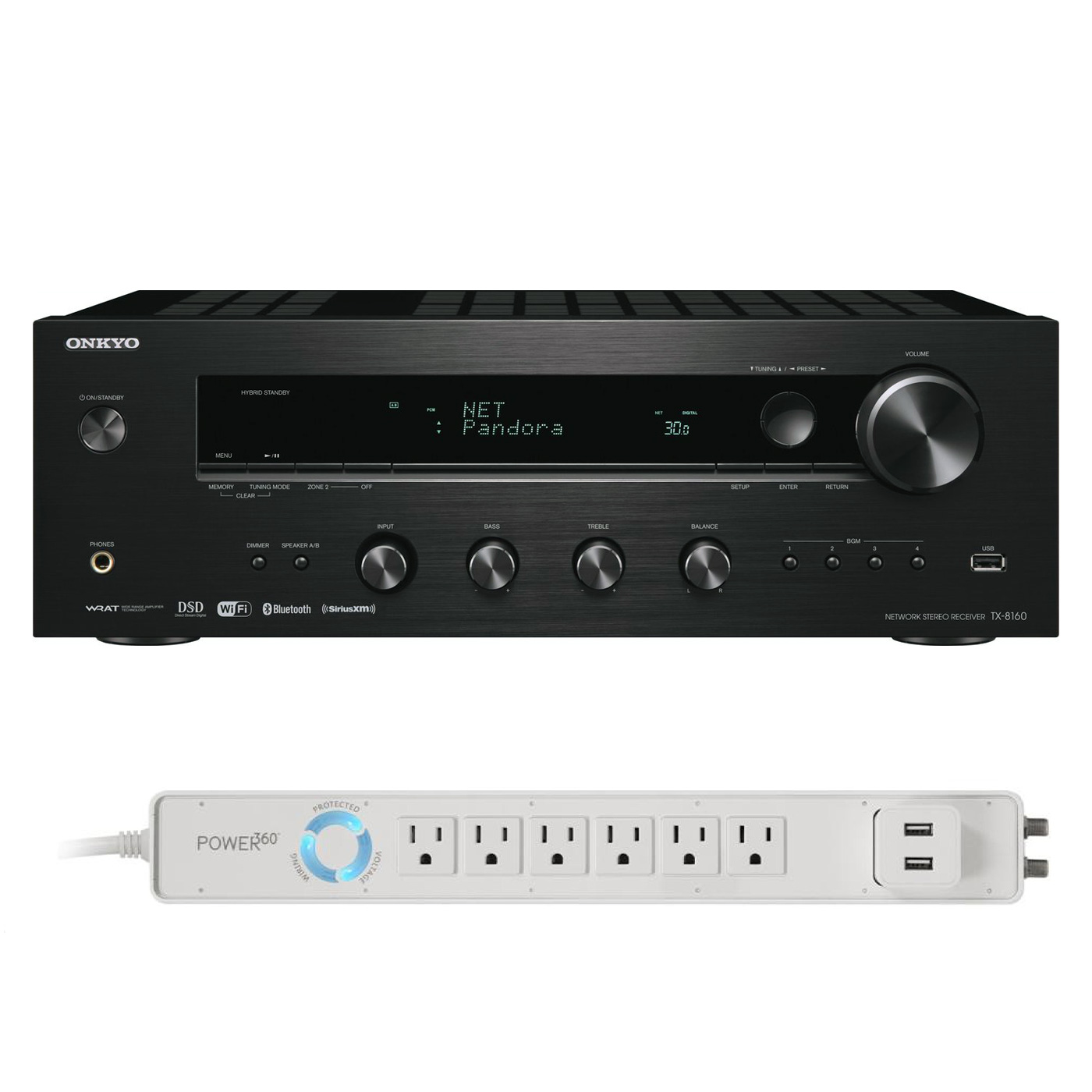 Onkyo TX-8160 Network Stereo Receiver and 6-Outlet Floor Power Strip with USB Charging by Onkyo