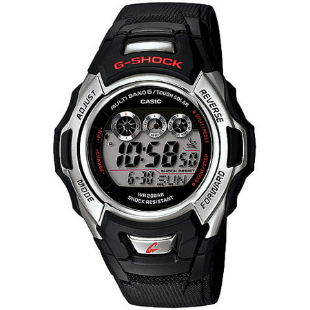 - Men's Solar-Atomic G-Shock Watch, Black Resin Strap