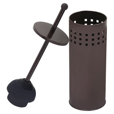 (Toilet Plunger with Holder for Bathroom, Multi Drain Suitable also for Bathtubs, Quick Dry, Bronze)