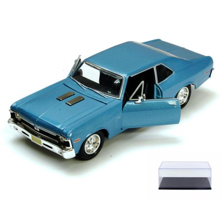 Diecast Car & Display Case Package - 1970 Chevy Nova SS, Blue - Maisto 34262 - 1/24 Scale Diecast Model Toy Car w/Display -