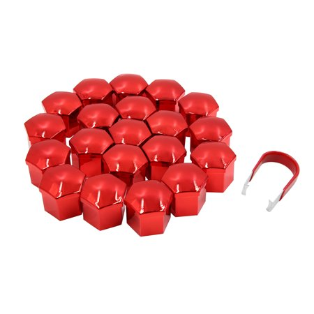 20pcs Red 21mm Car Wheel Lug Nut Cap Tyre Hub Screw Bolt Dust Cover Protector