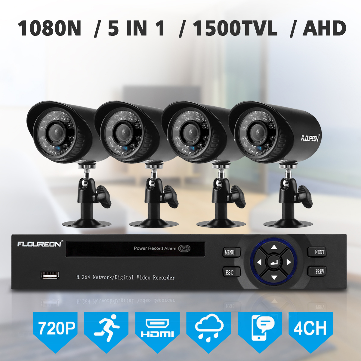 FLOUREON 1 X 4CH 1080N AHD DVR + 4 X Outdoor 1500TVL 1.0MP Camera Security Kit US
