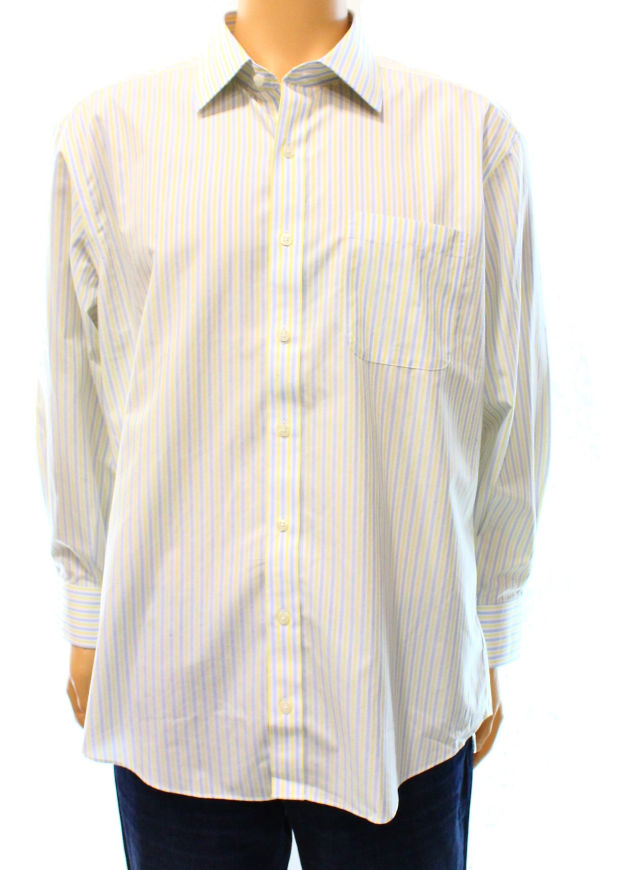 Eb Wood Eb Wood New Blue Mens Size 17 Striped Button Down