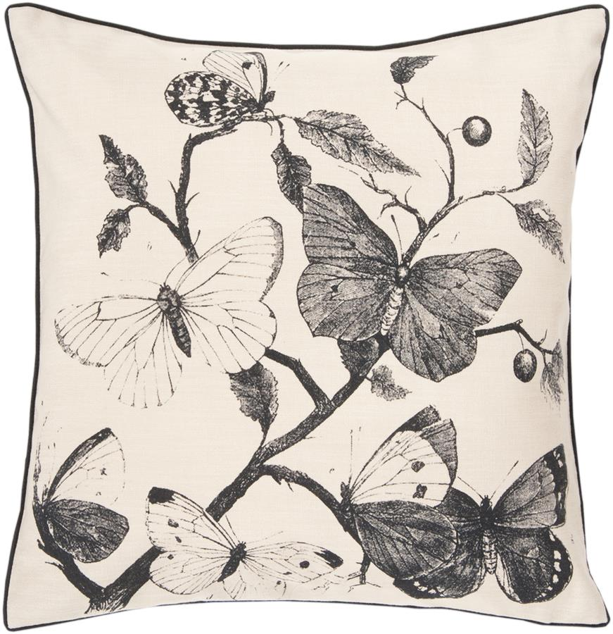 Surya Butterfly Decorative Pillow - Beige