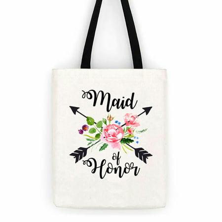 Maid Of Honor Floral Arrows Wedding Cotton Canvas Tote Bag School Day Trip Bag](Wedding Tote Bags)