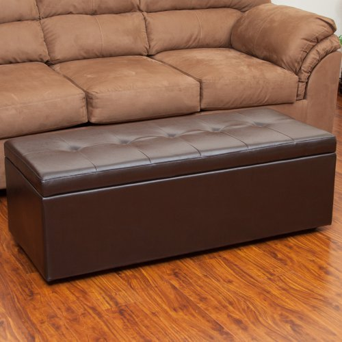 Best Selling Home Decor Furniture Abraham Leather Storage Ottoman - Chocolate Brown