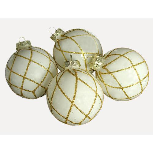 """Pack of 4 White with Gold Diamond Glitter Glass Ball Christmas Ornaments 2.5"""""""