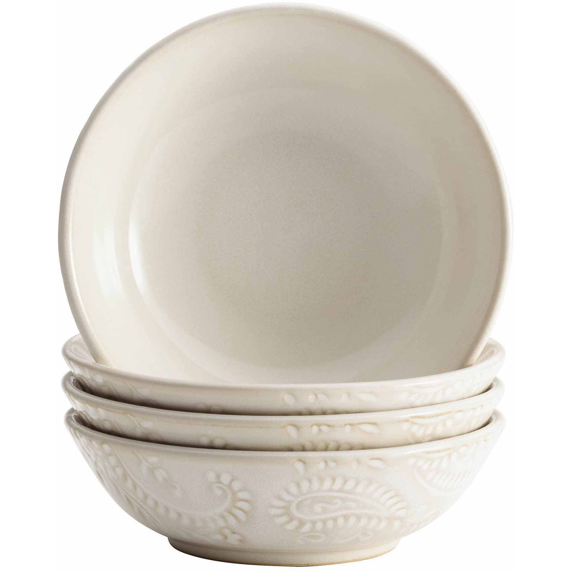 BonJour Dinnerware Paisley Vine 4-Piece Stoneware Fruit Bowl Set, Cream - 54973