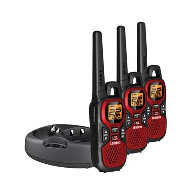 Uniden GMR3040-3CK 30 Mile 22 Channel FRS/GMRS Two-Way Radios with Charging Kit and NOAA Weather - Red