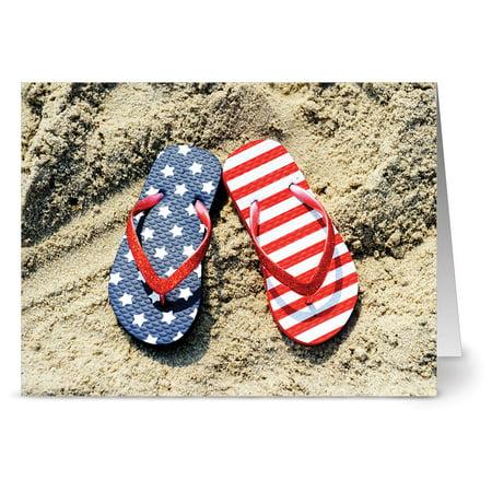 24 Patriotic Note Cards - Patriotic Flip Flops - Blank Cards - Red Envelopes Included