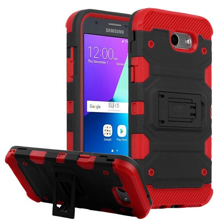 Galaxy J3 Luna Pro case by Insten Storm Tank Hard Cover Case For Samsung Galaxy Amp Prime 2/Express Prime 2/J3 (2017)/J3 Emerge - Black(+ USB (Hand Top Cover)