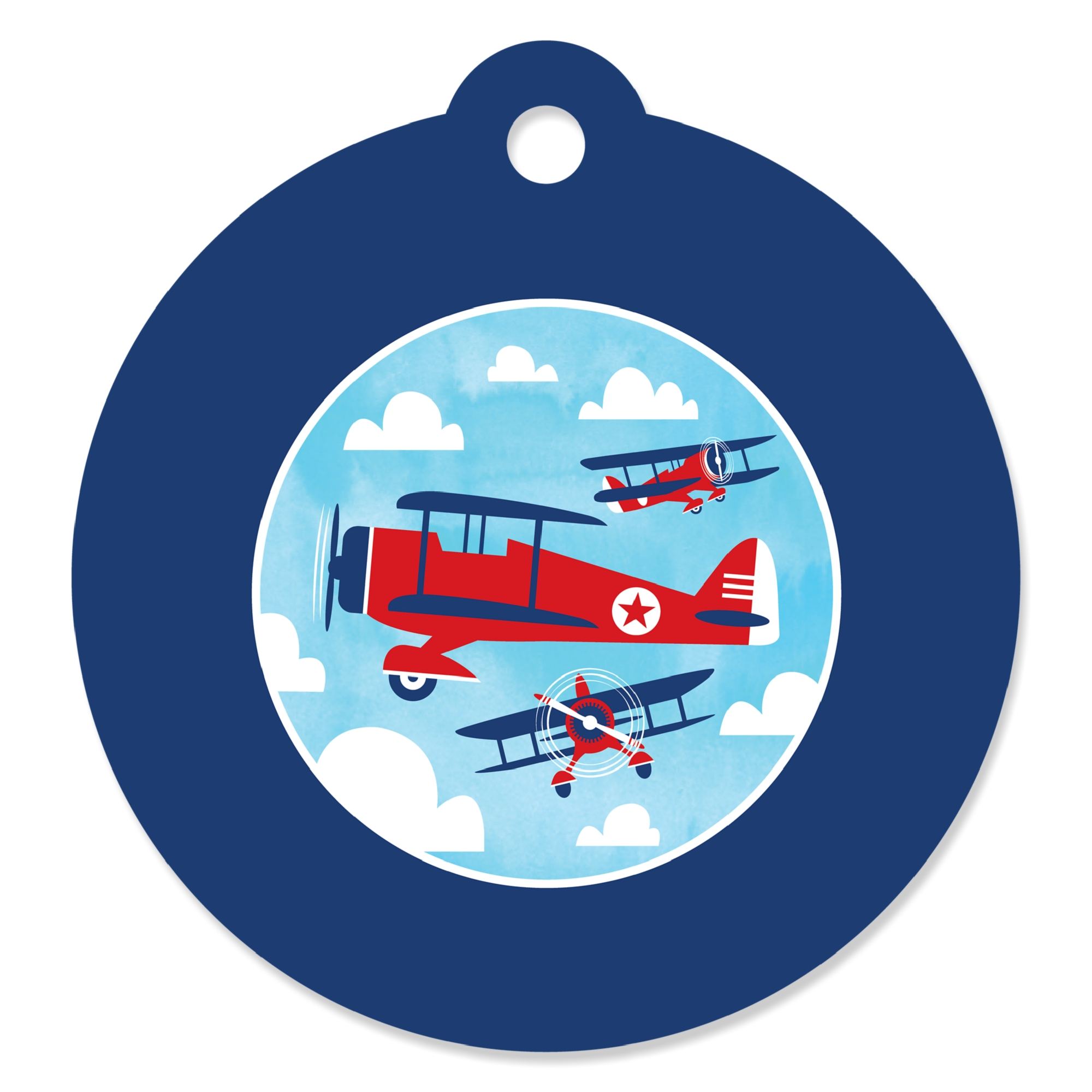 Taking Flight - Airplane - Vintage Plane Baby Shower or Birthday Party Favor Gift Tags (Set of 20)