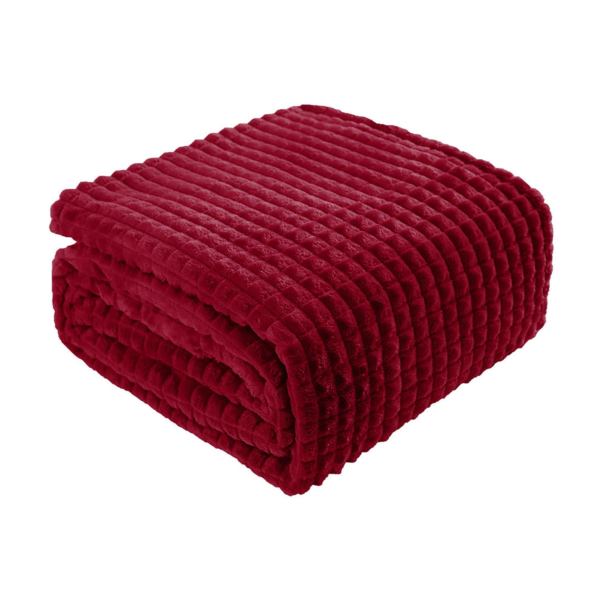 "Sofa Blanket Refined Craft Plaid Flannel Fleece Blanket Knee Blanket Wool Velvet- 60""x80"", Burgundy"
