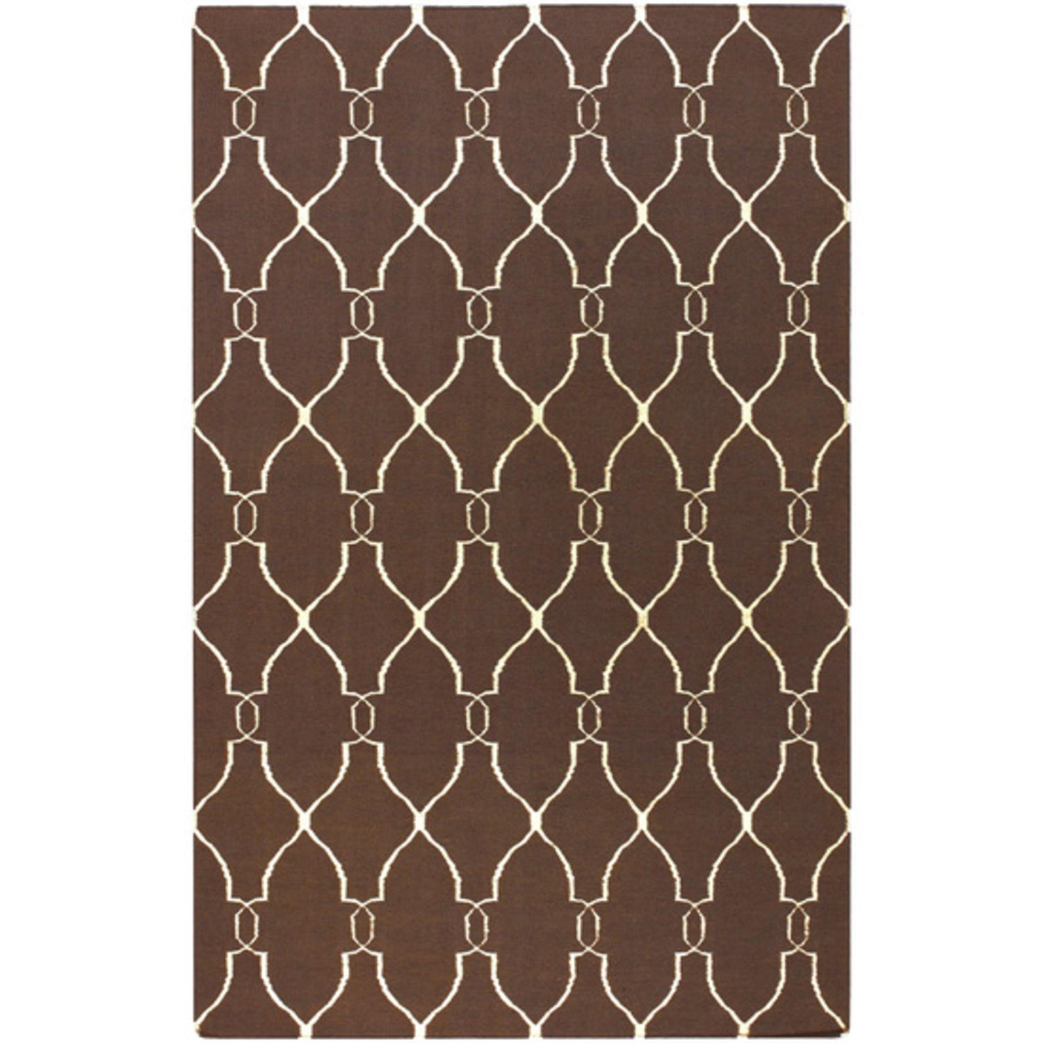 5' x 8' Forest Life Ivory and Brown Hand Woven Wool Area Throw Rug