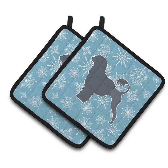 Carolines Treasures BB3568PTHD Winter Snowflake Portuguese Water Dog Pair of Pot Holders - image 1 de 1