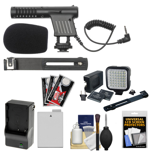 Vidpro Mini Microphone with LP-E8 Battery & Charger + Video Light & Bracket Kit for Canon Rebel T3i, T4i, T5i DSLR Camera
