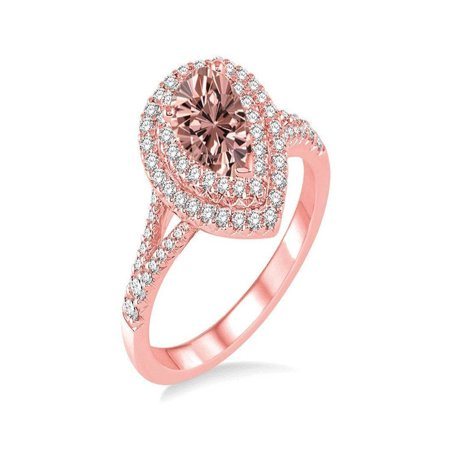 6c5465432d36e Double Halo Pear Shape Morganite and Diamond Engagement Ring in 14k Rose  Gold affordable morganite and diamond engagement ring