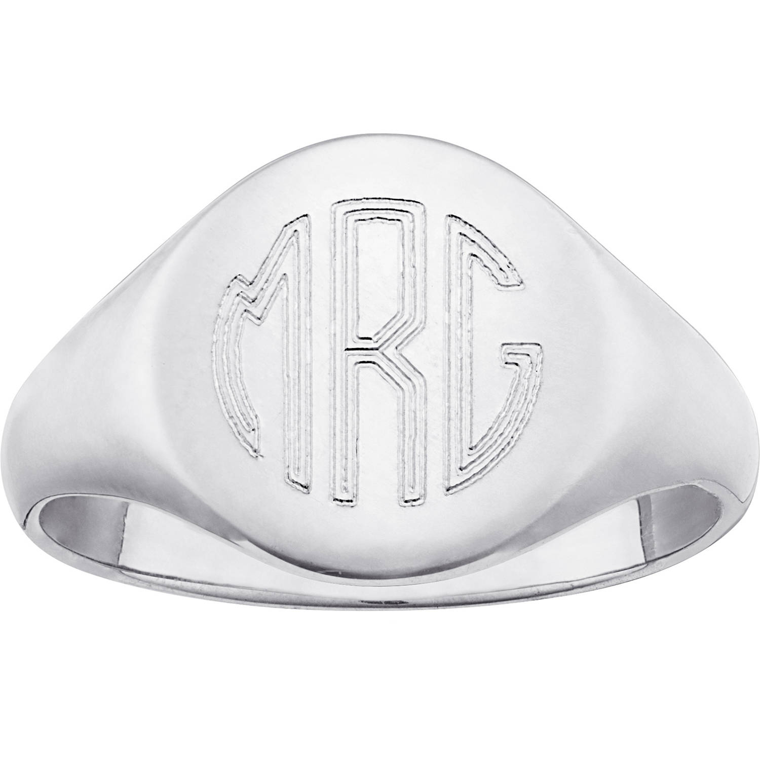 Personalized Men's Sterling Silver Petite Round Monogram Signet Ring