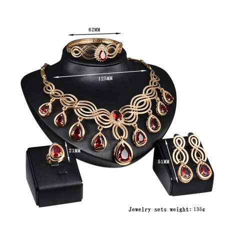 Luxurious Rhinestone Stylish Jewelry Set, Alloy Water Drop Diamond Tassels Four-piece of Necklace Ear Studs Bracelet Ring for Party