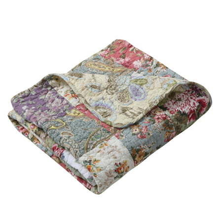 Global Trends Carmel 100% Cotton Patchwork Throw Blanket Handmade Cotton Quilt Throw