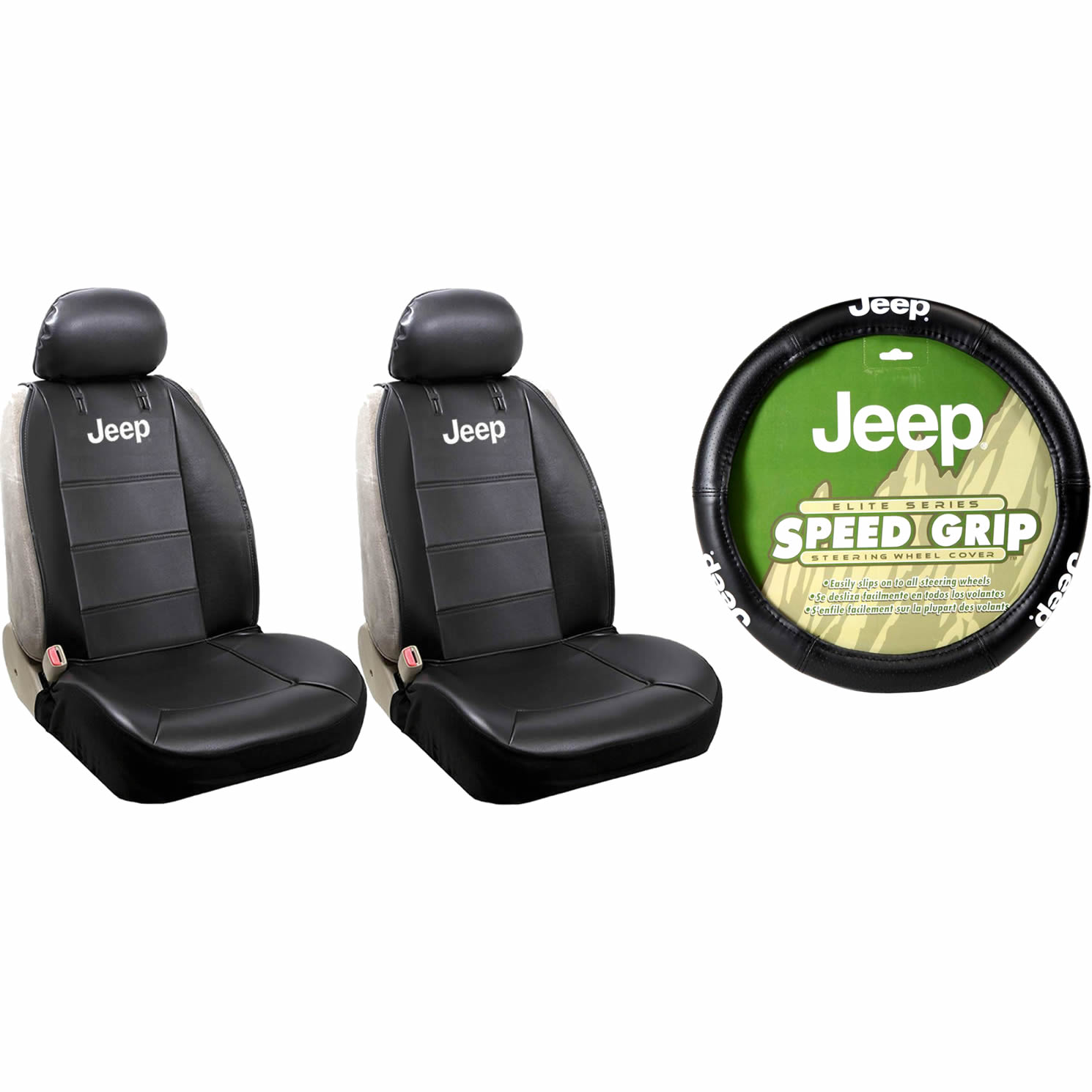 2 Jeep Black Synthetic Leather Sideless Seat Covers & Black Steering Wheel Cover Set Car Truck SUV