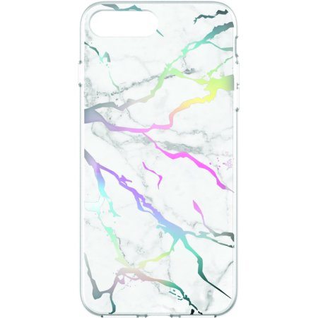 brand new 1aa82 4546b Onn Clear Slim Lightweight Phone Case For iPhone 7 Plus/8 Plus, Iridescent  Marble