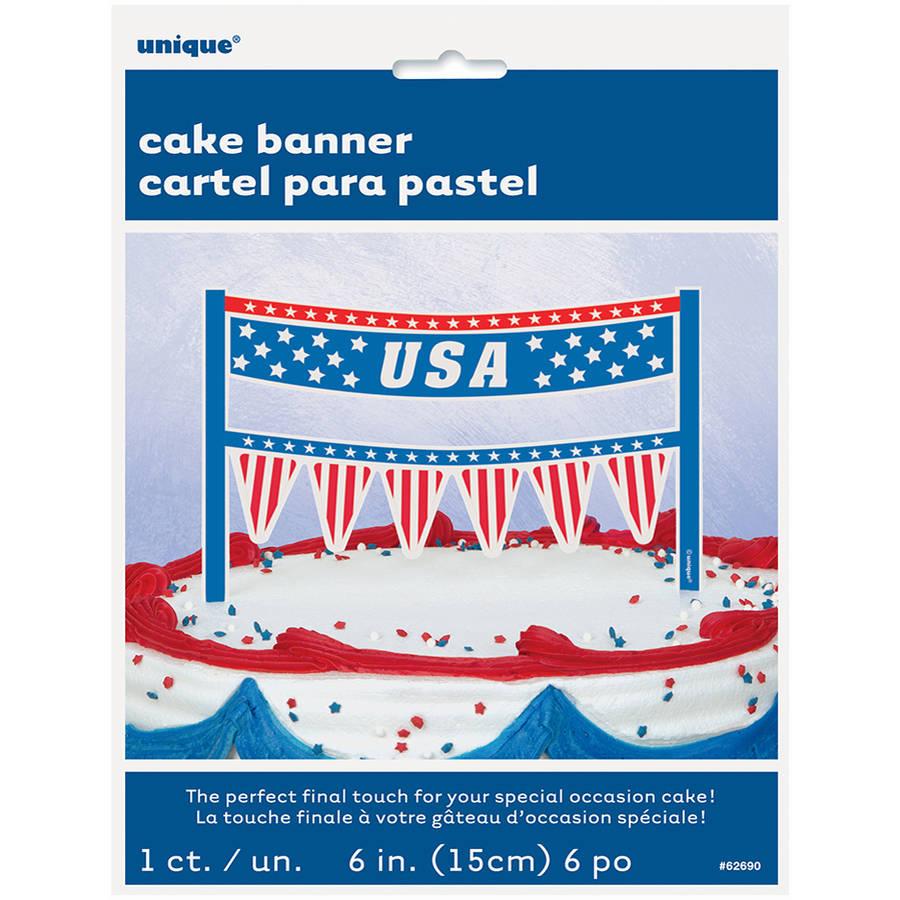 USA Patriotic Cake Bunting Topper
