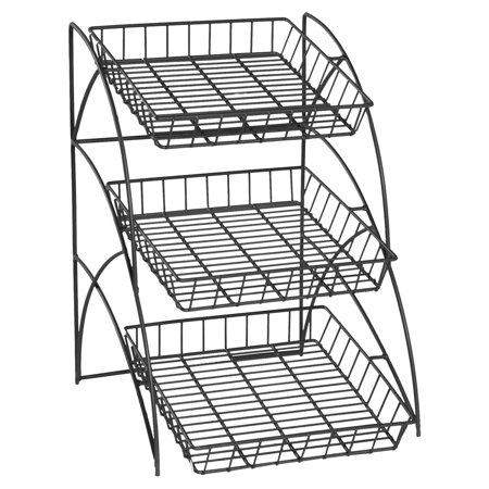 Displays2go Space Saving  Wire Rack With 3 Display Shelves, Countertop, Tiered, Open Shelf Design, 14-3/4 x 22-1/2 x 17-3/4-Inch