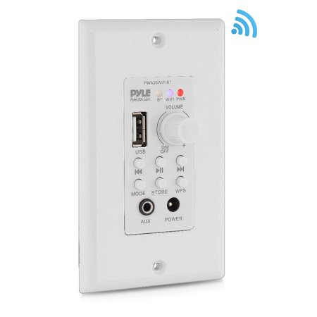 PYLE PWA25WIFIBT - In-Wall Wi-Fi Wireless Audio Control - Bluetooth Wall Plate Switch Receiver, Aux (3.5mm) Input