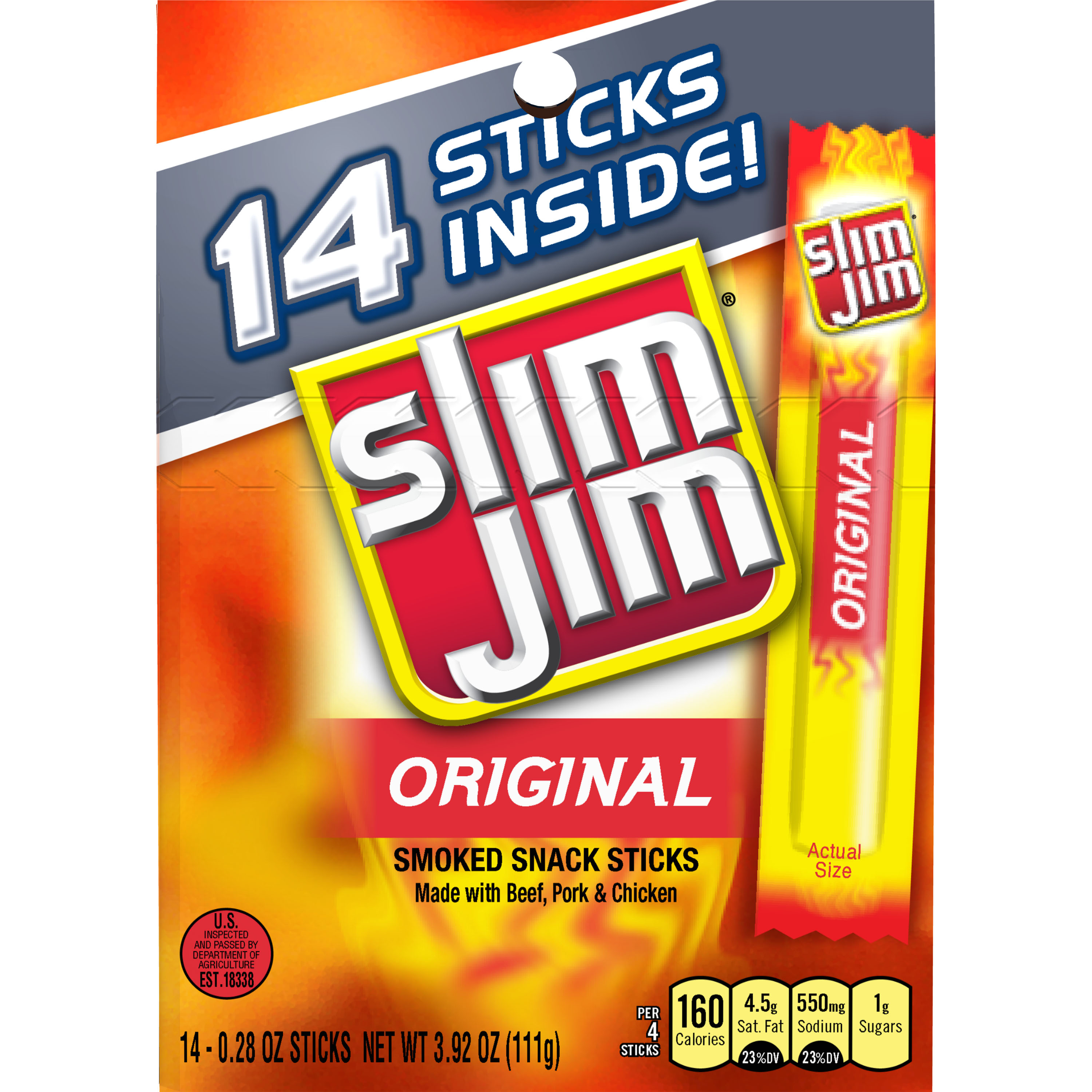 Slim Jim Original Smoked Snack Sticks, 0.28 oz, 14 ct