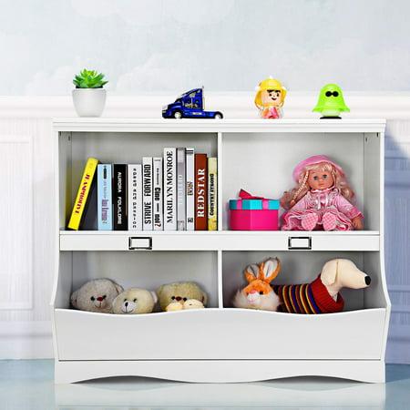 meet fa8b7 d629d Gymax Children Storage Unit Kids Bookshelf Bookcase Baby Toy Organizer  Shelf White   Walmart Canada