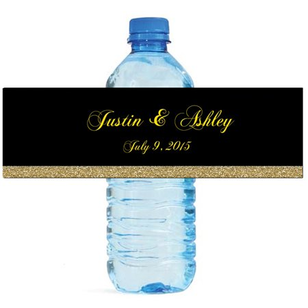 100 Black & Gold Glitter Wedding Anniversary Engagement Party Water Bottle Labels 8