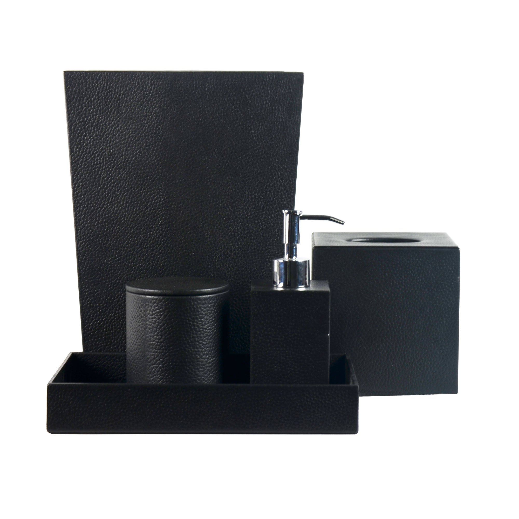 Genuine Leather 5-Piece Bath Set, Black, Shower and Bathroom Accessory