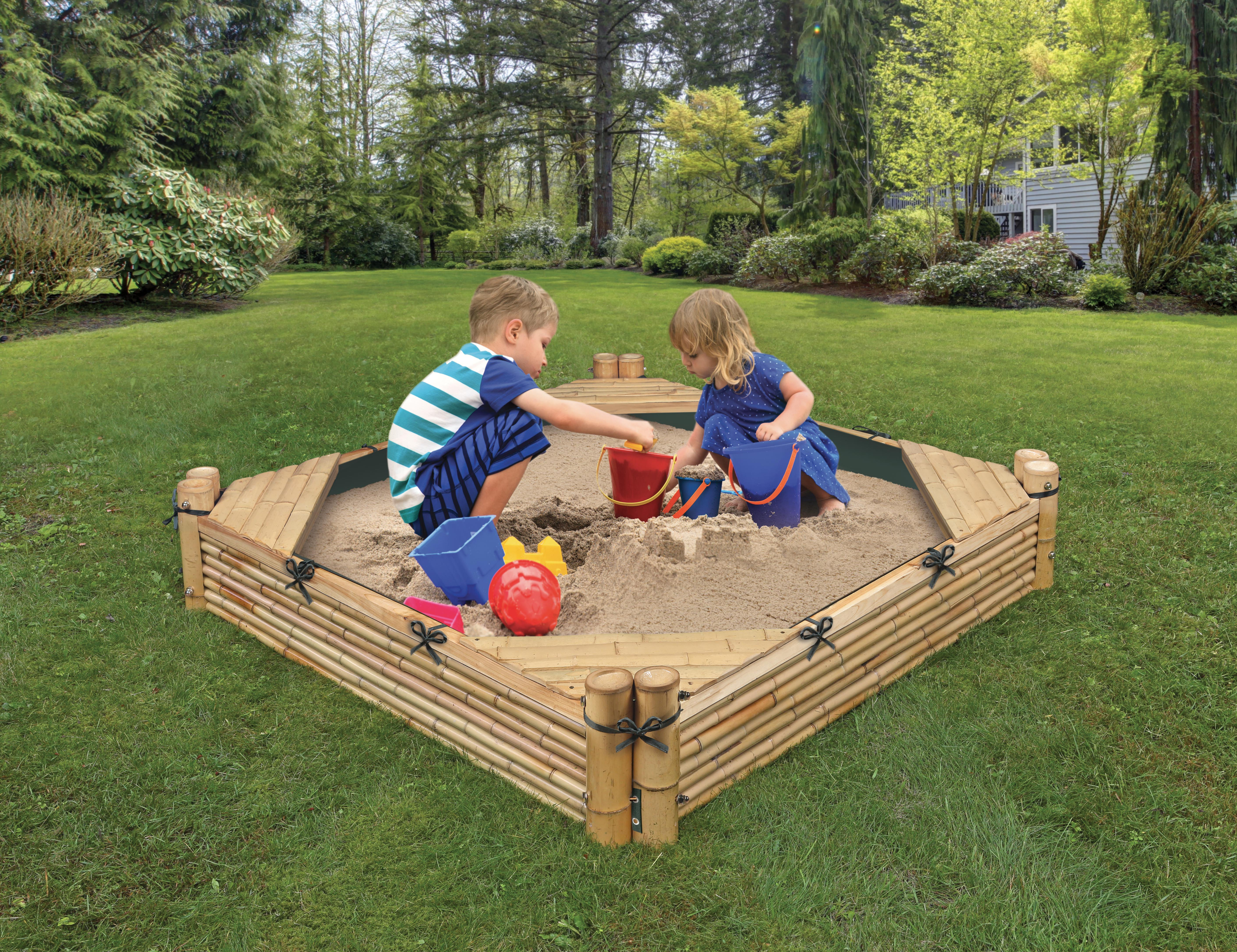 Bamboo Beach Sandbox with Liner and Cover Natural by Badger Basket