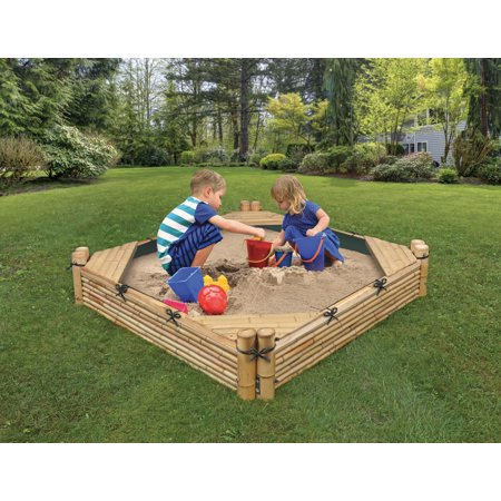 Bamboo Beach Sandbox with Liner and Cover -