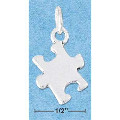 Sterling Silver High Polish Jigsaw Puzzle Piece Charm Autism Symbol