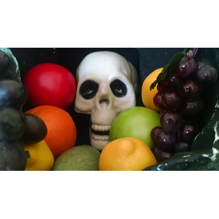 Framed Art For Your Wall Bone Colorful Skull Food Fruit Skeleton Halloween 10x13 Frame (Bones Halloween Food)