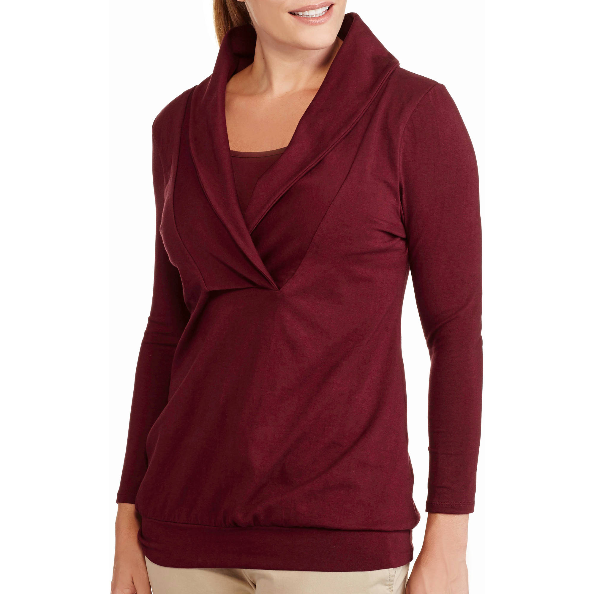 Maternity Shawl Collar Long Sleeve Nursing Top