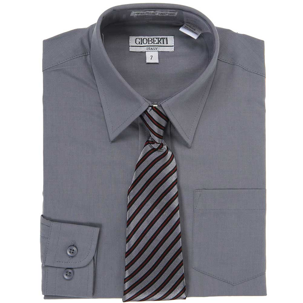 Dark Grey Button Up Dress Shirt Grey Striped Tie Set Boys 5-18