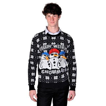 RWB Mens Ugly Christmas Sweaters Chillin With My Snowmies Navy Slim Fit ()