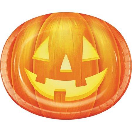 Creative Converting Halloween Pumpkin Oval Platters, 10